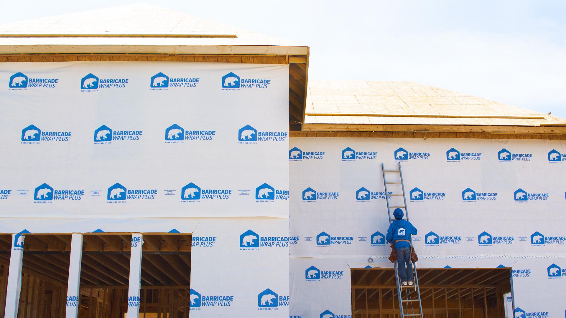 Barricade House Wrap - Wrap Plus - Builder on Ladder